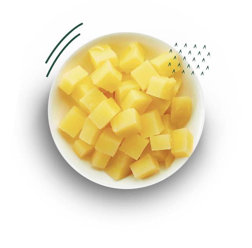 Prato com batatas em cubo