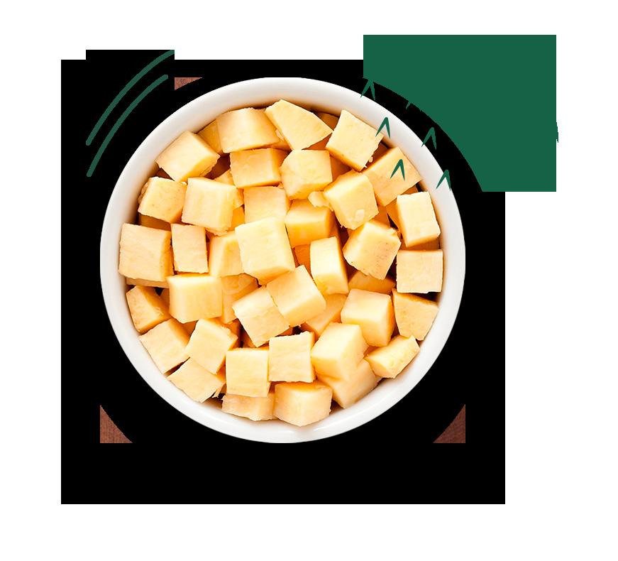Prato com batata doce em cubos